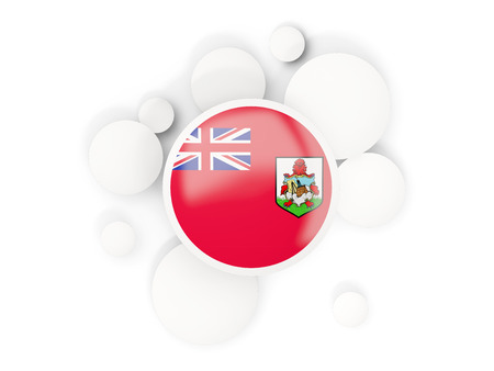 Round flag of bermuda with circles pattern isolated on white. 3D illustration Banco de Imagens