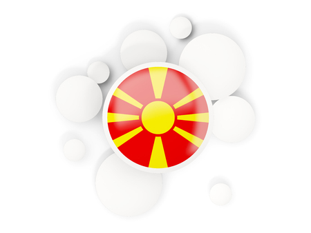 Round flag of macedonia with circles pattern isolated on white. 3D illustration Stock Photo