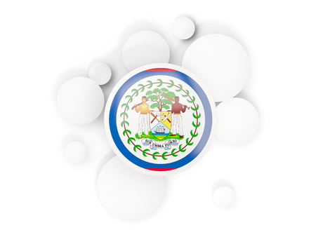 Round flag of belize with circles pattern isolated on white. 3D illustration