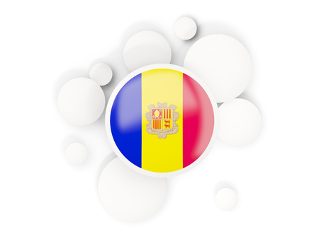 Round flag of andorra with circles pattern isolated on white. 3D illustration