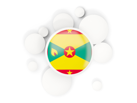 grenada: Round flag of grenada with circles pattern isolated on white. 3D illustration Stock Photo