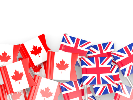 Flag pins of Canada and UK isolated on white. 3D illustration Stock Photo