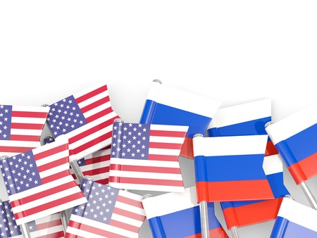 Flag pins of USA and Russia isolated on white. 3D illustration