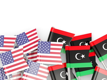 Flag pins of USA and Libya isolated on white. 3D illustration