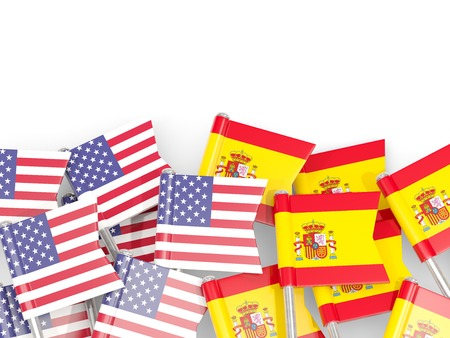 Flag pins of USA and Spain isolated on white. 3D illustration