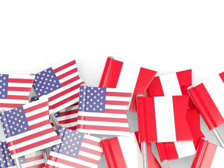 Flag pins of USA and Peru  isolated on white. 3D illustration