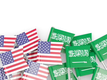 Flag pins of USA and Saudi arabia isolated on white. 3D illustration Stock Photo