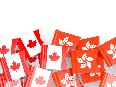Flag pins of Canada and Hong Kong isolated on white. 3D illustration