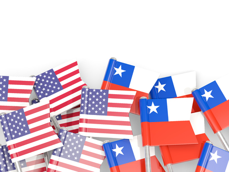 Flag pins of USA and Chile isolated on white. 3D illustration