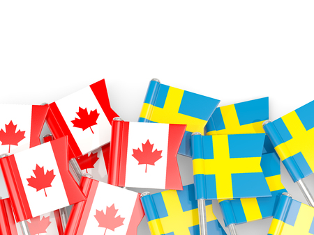 Flag pins of Canada and Sweden isolated on white. 3D illustration