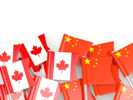 Flag pins of Canada and China isolated on white. 3D illustration