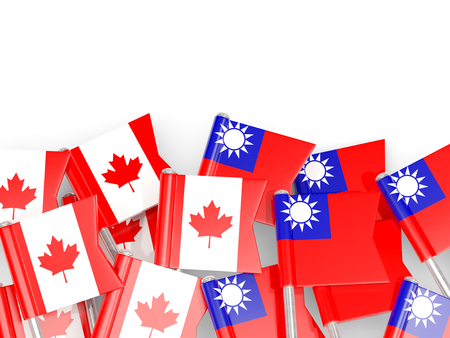 Flag pins of Canada and Taiwan isolated on white. 3D illustration Stock Photo