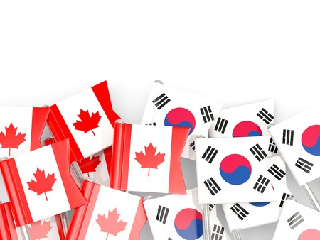 Flag pins of Canada and South Korea isolated on white. 3D illustration