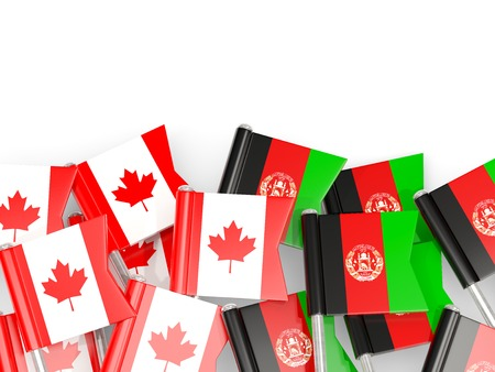 Flag pins of Canada and Afghanistan isolated on white. 3D illustration