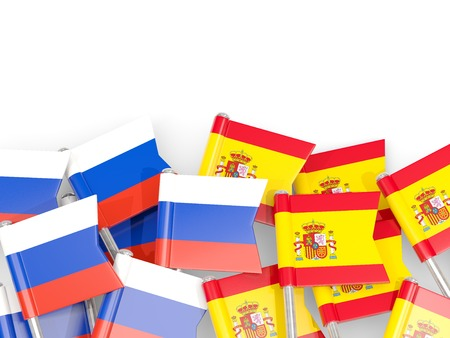 Flag pins of Russia and Spain isolated on white. 3D illustration Stock Photo