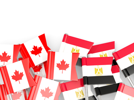 Flag pins of Canada and Egypt isolated on white. 3D illustration Stock Photo