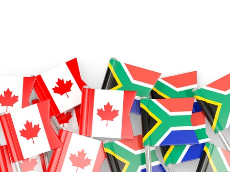 Flag pins of Canada and South Africa isolated on white. 3D illustration Stock Photo
