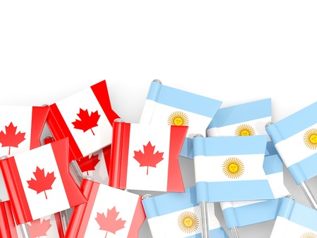 Flag pins of Canada and Argentina isolated on white. 3D illustration Stock Photo
