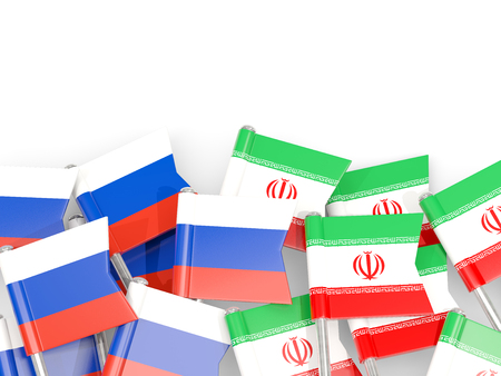 Flag pins of Russia and Iran isolated on white. 3D illustration