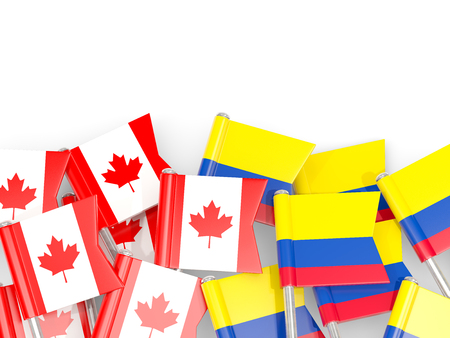 Flag pins of Canada and Colombia isolated on white. 3D illustration