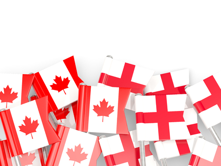 Flag pins of Canada and England isolated on white. 3D illustration
