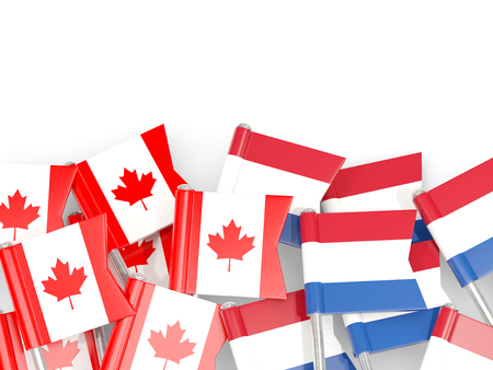 Flag pins of Canada and Netherlands isolated on white. 3D illustration
