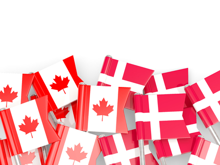 Flag pins of Canada and Denmark isolated on white. 3D illustration Stock Photo