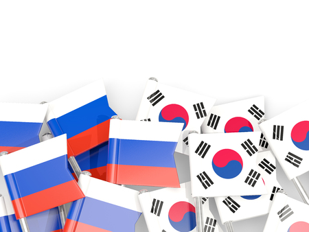 Flag pins of Russia and South Korea isolated on white. 3D illustration