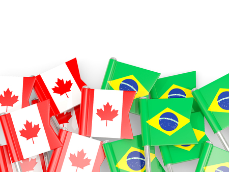 Flag pins of Canada and Brazil isolated on white. 3D illustration Stock Photo