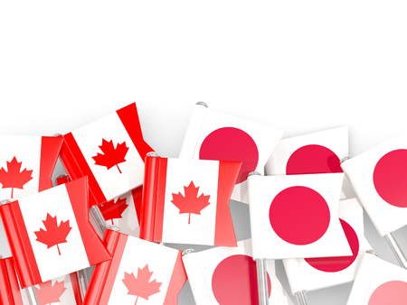 Flag pins of Canada and Japan isolated on white. 3D illustration
