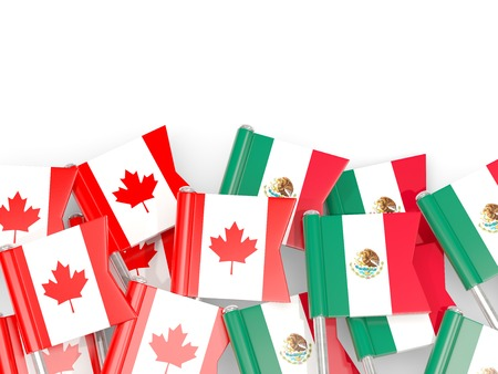 Flag pins of Canada and Mexico isolated on white. 3D illustration
