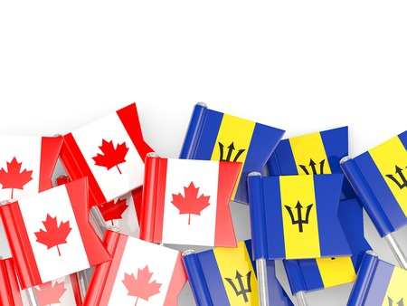 Flag pins of Canada and Barbados isolated on white. 3D illustration Stock Photo