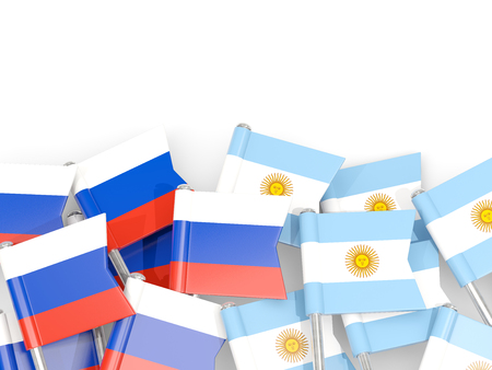 Flag pins of Russia and Argentina isolated on white. 3D illustration