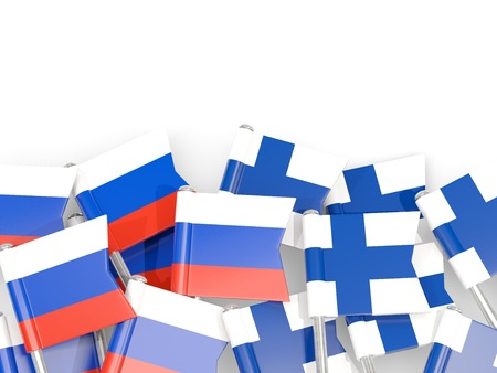 Flag pins of Russia and Finland isolated on white. 3D illustration