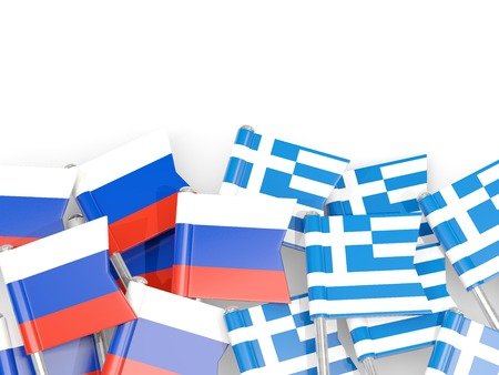 Flag pins of Russia and Greece isolated on white. 3D illustration Stock Photo