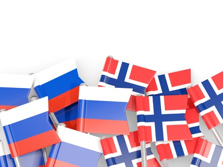 Flag pins of Russia and Norway isolated on white. 3D illustration