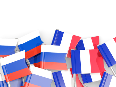 Flag pins of Russia and France isolated on white. 3D illustration