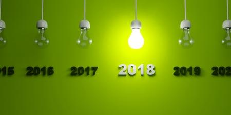 bright: 2018 New Year sign under  light bulbs. 3D illustration