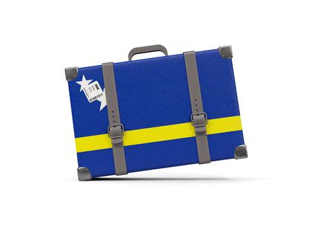 Bagage met vlag van curacao. Koffer op wit wordt geïsoleerd dat. 3D illustratie