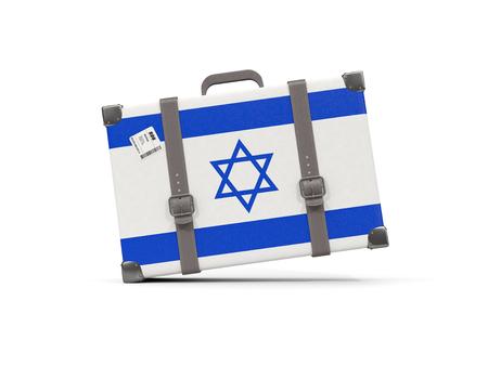 イスラエルの旗を持つ荷物。白で隔離されたスーツケース。3Dイラストレーション