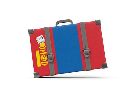 Luggage with flag of mongolia. Suitcase isolated on white. 3D illustration