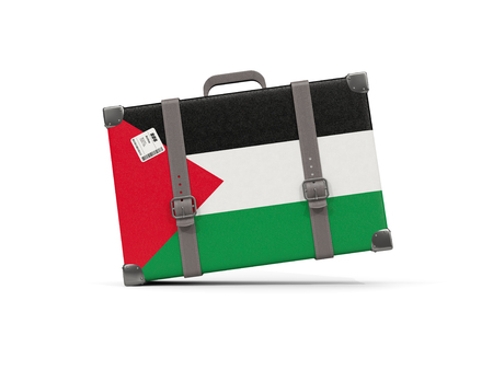 Luggage with flag of palestinian territory. Suitcase isolated on white. 3D illustration Stock Photo