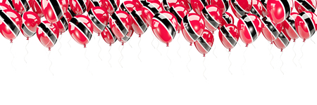 Balloons frame with flag of trinidad and tobago isolated on white. 3D illustration