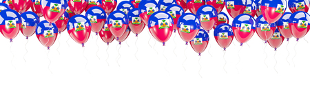 Balloons frame with flag of haiti isolated on white. 3D illustration Stock Photo