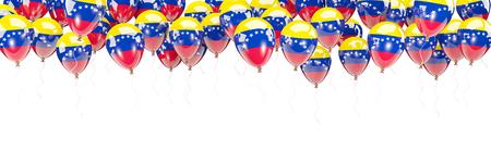 bandera de venezuela: Los globos enmarcan con la bandera de Venezuela aislada en blanco. Ilustración 3D