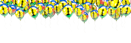 Balloons frame with flag of new caledonia isolated on white. 3D illustration Stock Photo