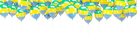 Balloons frame with flag of gabon isolated on white. 3D illustration Stock Photo