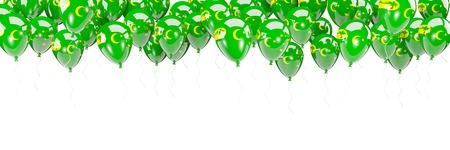 Balloons frame with flag of cocos islands isolated on white. 3D illustration