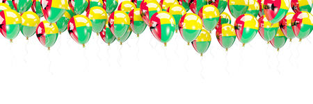 Balloons frame with flag of guinea bissau isolated on white. 3D illustration