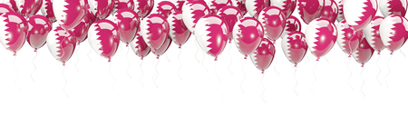 Balloons frame with flag of qatar isolated on white. 3D illustration Stock Photo